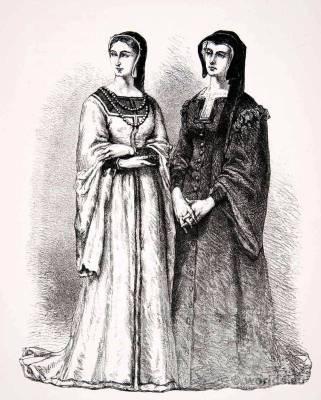 Louise of Savoy and Marguerite de Valois. Renaissance Costumes, Adornment.