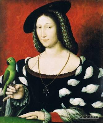 Marguerite de Navarre. Jean Clouet. Renaissance Costume, Adornment, Jewellery