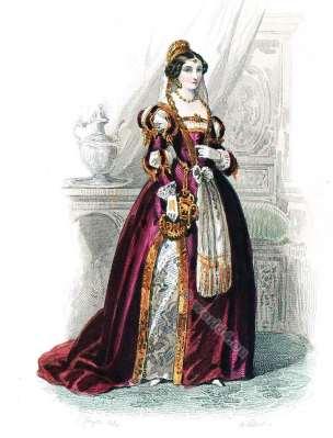 Costume Renaissance. Cour de François Ier. Mode de 16ème siècle. Costumes actuels. Musée cosmopolite