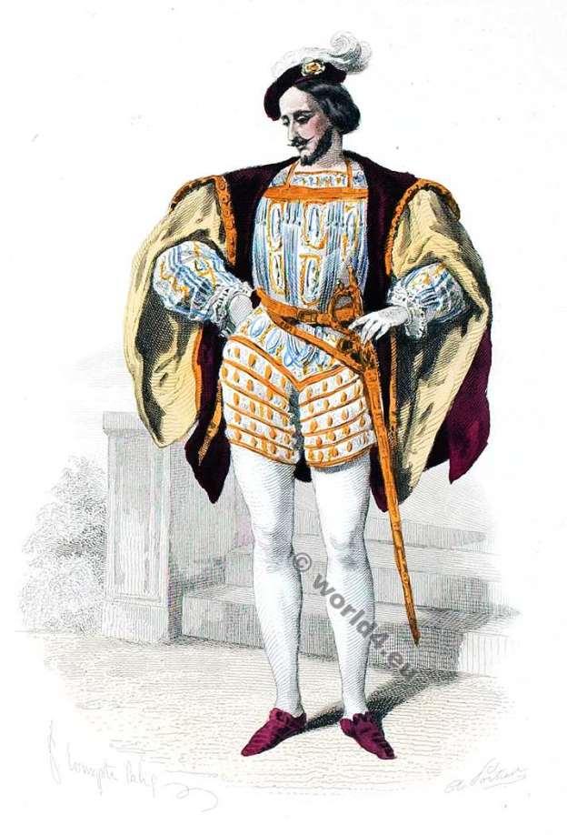 Costume Renaissance. Duc, Marquis Cour de François Ier. Mode de 16ème siècle. Costumes actuels. Musée cosmopolite