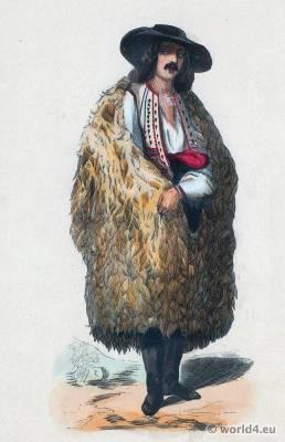 Wallachia clothing. Romania national costumes. Romanian dress.