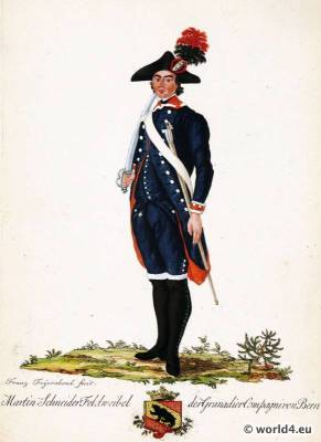 Switzerland military uniform. Canton Bern Shooter soldier dress. 18th century Swiss army uniforms.