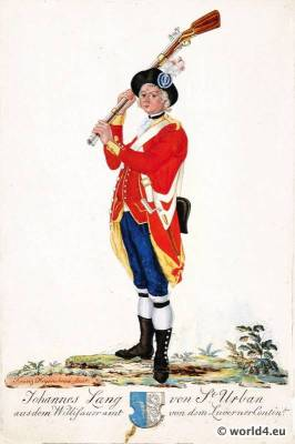 Switzerland military uniform. Shooter of Willisauer Office of the Lucerne Contingent.  18th century Swiss army uniforms.