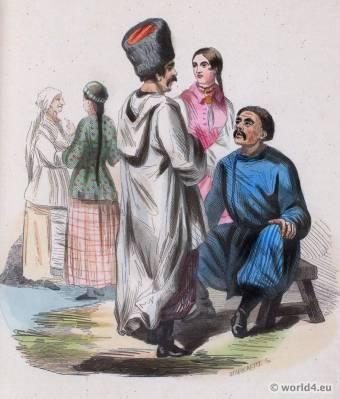 Traditional Ukrainian Inhabitants Dress. Traditional Ukraine national costume. Slavic Ethnic garment.