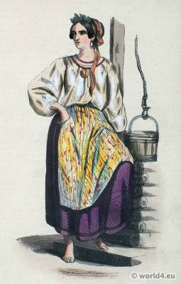 Woman folk clothing of Ukraine. European Russia national costume. Ethnic dress.