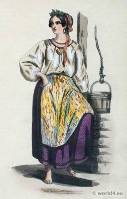 Woman folk clothing of Ukraine. European Russia national costume. Ethnic dress.