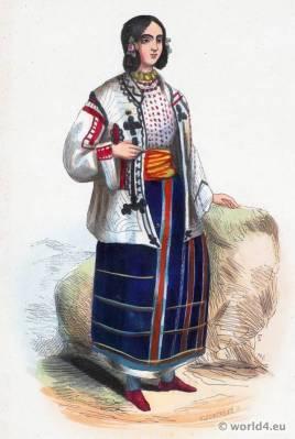 Romanian national costumes. Ethnic Costume Romania. Traditional Folk dress Wallachia.