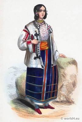 Young Wallachian Girl costume. Traditional Wallachia national costume. Wallachian Folk clothing. Ethnic dress.