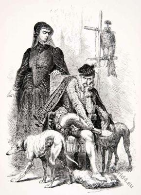 Catherine de'Medici . Charles IX. Alphonse Neuville. Renaissance fashion.