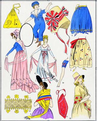 French Revolution costumes. Merveilleuses. Neoclassicism. Neoclassical fashion.