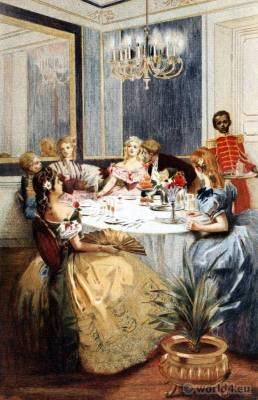 Parisiennes fashion. French Second Empire costumes. Glamorous Victorian ball gowns. Regency Romantic dresses.