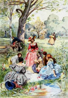 Romantic fashion. French Empire Costumes. Victorian Fashion. Straw hat