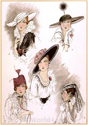 Art Deco hats fashion by Suzanne Talbot. Parisian 1920s, 1930s and 40s costumes. Models de GEORGETTE