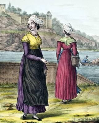 Traditional French National Costumes. Lyon folk dresses. France Ethnic garment.