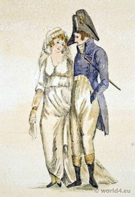 French revolution costumes. France Directory fashion. Incroyables. Merveilleuses.