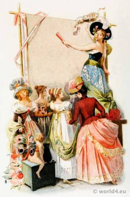 French revolution fashion. French 18th century costumes. Nymphs and merveilleuses. Octave Uzanne