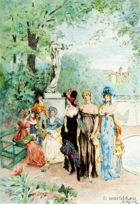 French Revolution costumes. Merveilleuses. Neoclassical fashion. Octave Uzanne. Albert Lynch