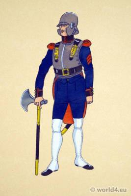 French firefighter uniform. Traditional French National Costumes. France Ethnic garment.