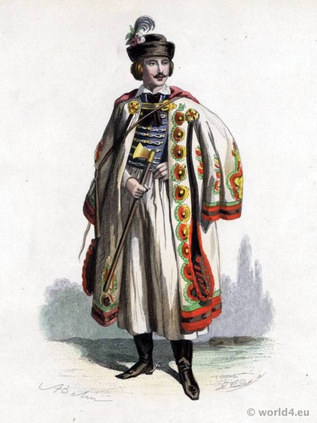 Hungarian Cattle Guard Costume. Traditional Hungarian National Costume. Hungary Folk dress