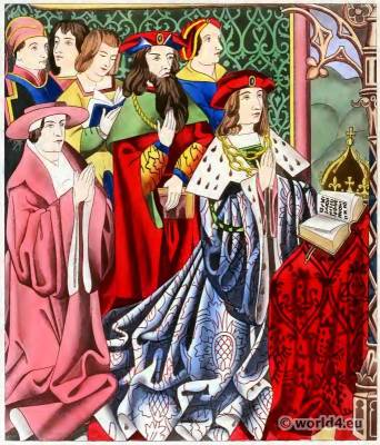 King Henry VI. 15th century costumes.