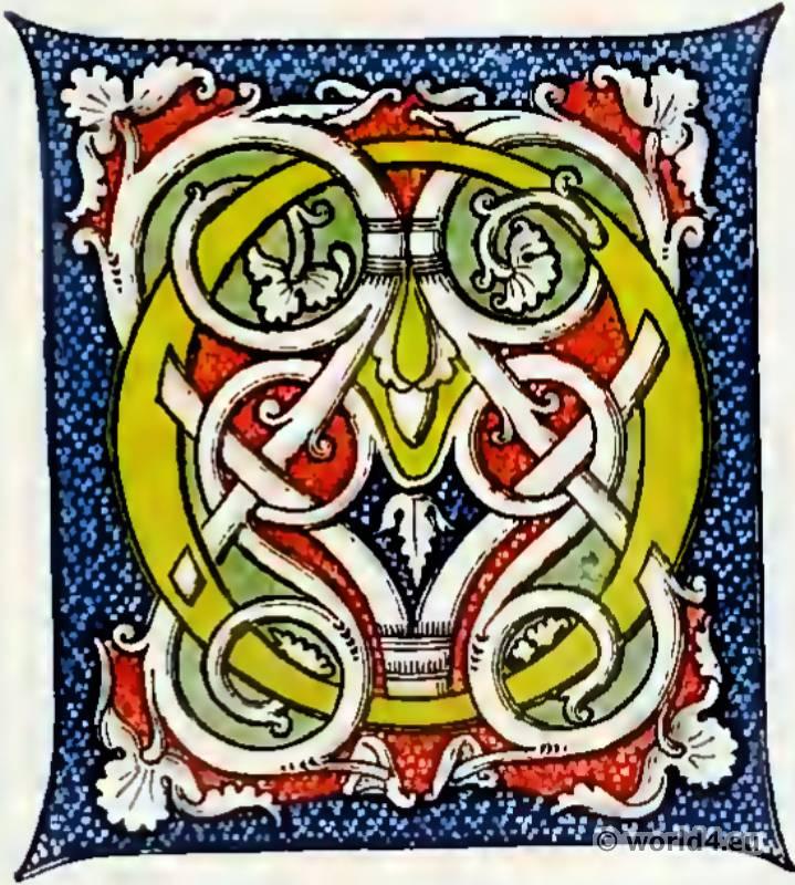 Medieval letter decoration. Middle ages Book illustration. Initial letter O