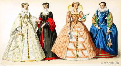 Renaissance costumes. 16th century clothing. Medieval dresses.