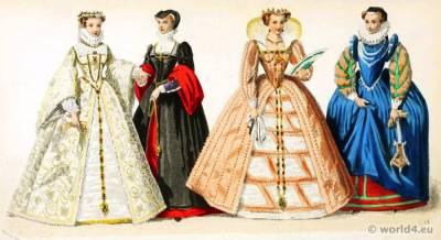 Renaissance, costumes. 16th century, clothing, Medieval. dresses.