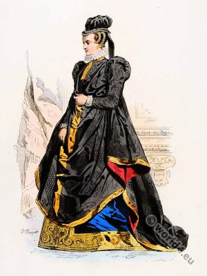 Renaissance fashion. 16th century court dress. Charles IX