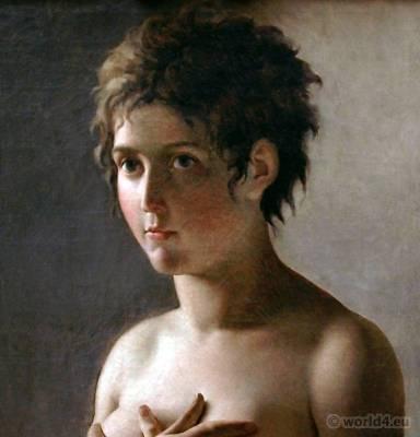 Merveilleuse, Hair à la titus. French Revolution, hairstyle. Hair à la titus. Directory fashion. Jeune Fille en Buste