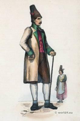 Traditional Bavarian folk costume. Traditional German national costumes. Bavaria Ethnic garment.