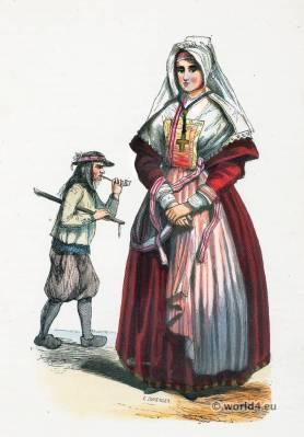 Brittany folk costumes. Traditional France national costumes. Breton Ethnic garment.