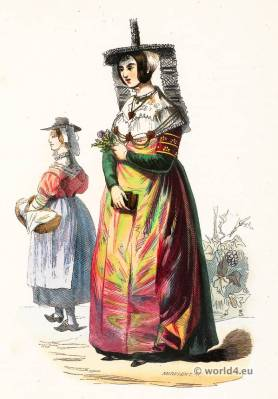 Macon and Bresse folk costumes. Traditional France national costumes. French Ethnic garment.
