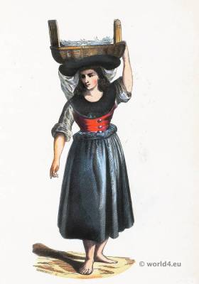 Pardilhó Merchant folk costume. Traditional Portugal national costumes. Portugese Ethnic garment.