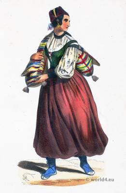 Castile folk costume. Traditional Spain national costumes. Spanish Ethnic garment.