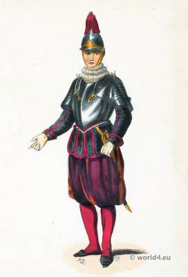 Sergeant Swiss Guard of the Pope. Traditional Swiss national costumes. Switzerland Ethnic garment.