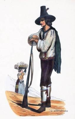 Folk dress Hunter costume Ziller Valley. Tyrol. Traditional Austrian national costumes. Ethnic Costume Tyrol.