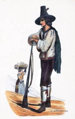 Folk dress Hunter costume Ziller Valley. Traditional Austrian national costumes.Traditional Tyrolean National Costumes