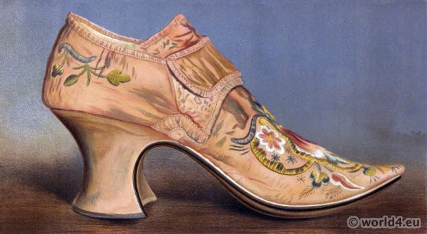 Large buckled shoe baroque fashion period. Vintage High Heels. Boho style. Reign of Queen Anne