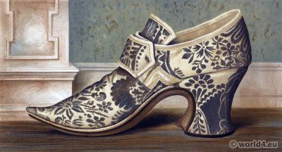 16th century tudor high heel shoe style. Boho style.