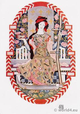 Robert Anning Bell. Art Nouveau Embroidery Design. Furniture decoration.