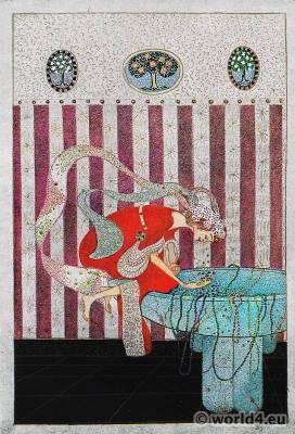 Fantasy oriental costume. Art nouveau illustration. Painter Hede von Trapp.