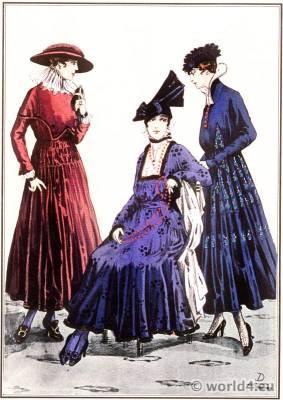 Silk dresses. Le style parisien. Art deco fashion. Gibson girls, flapper costumes