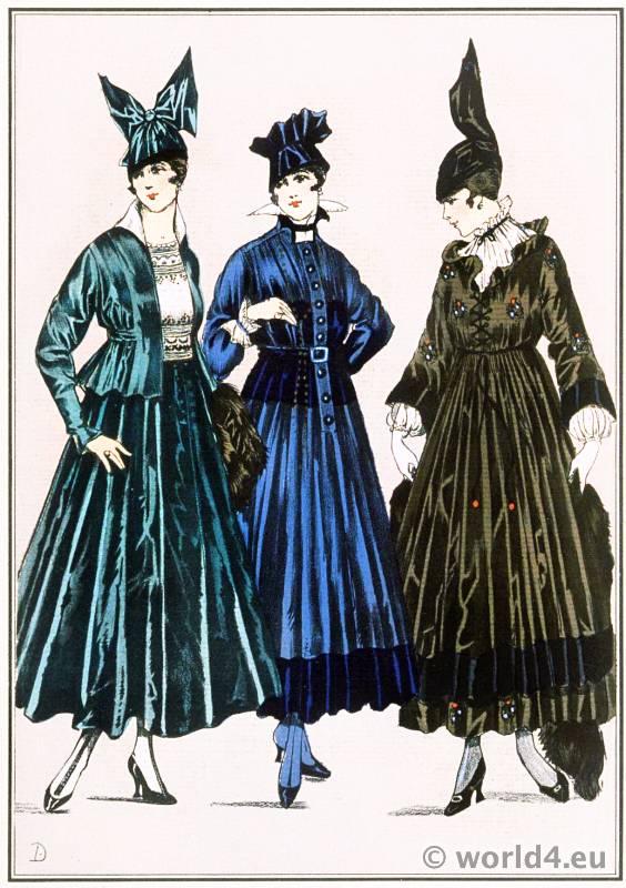 Three Breton dresses. Le style parisien. Art deco fashion magazine. French parisiennes collection haute couture