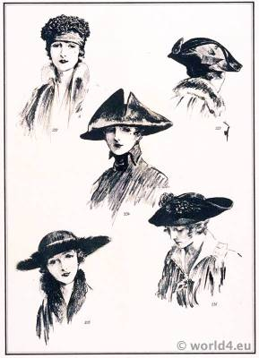 Hats fashion Georgette. Le style parisien. Art deco fashion magazine. French parisiennes collection haute couture