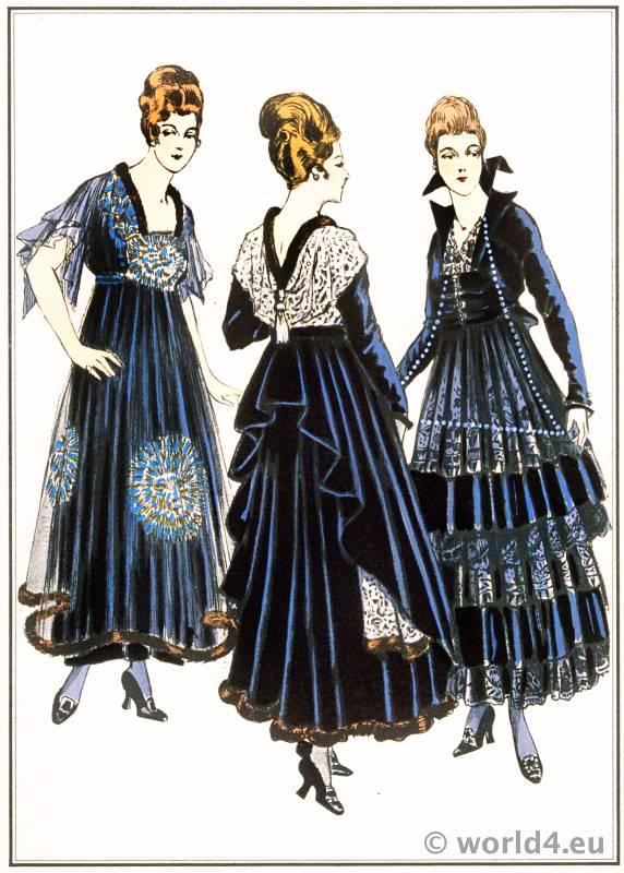 Diner Gowns. Premet, Paquin, Dœuillet. Le style parisien. Art deco fashion magazine. French parisiennes collection haute couture
