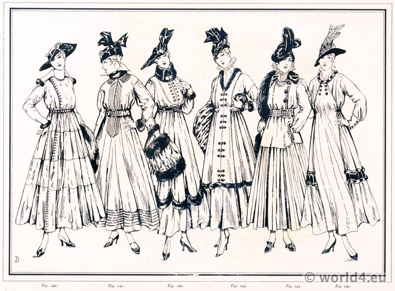 Knitted dresses woolen or fur topped. Le style parisien. Art deco fashion magazine. French parisiennes collection haute couture