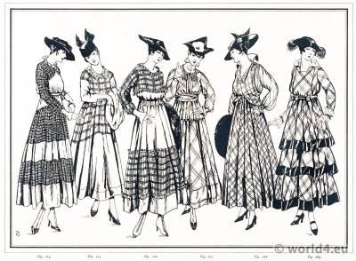 Scottish gowns. Le style parisien. Art deco fashion magazine. French parisiennes collection haute couture.