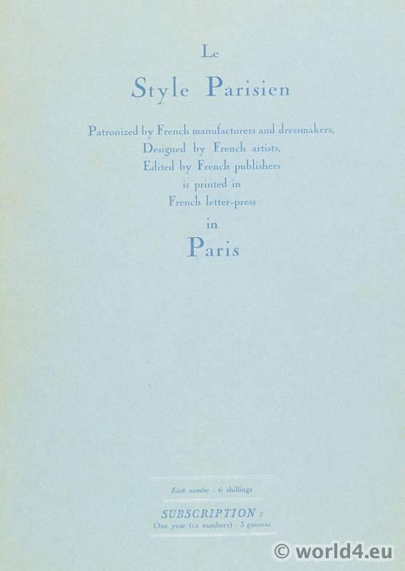 Le style parisien. Art deco fashion magazine. French parisiennes collection haute couture.