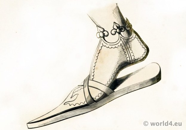 14th Century Shoe of German Emperor Frederick III. Medieval Pointed Shoes fashion.
