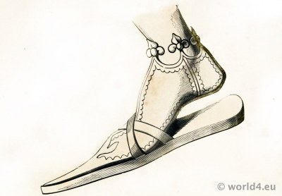 Middle Ages Shoes fashion. 14th century pointed shoes.